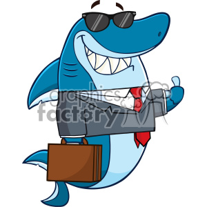 Smiling Business Shark Cartoon In Suit Carrying A Briefcase And Holding A Thumb Up Vector clipart. Royalty-free image # 402841