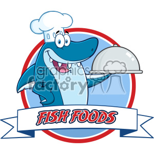 Chef Blue Shark Cartoon Holding A Platter Over A Ribbon Banner Vector With Text Fish Foods