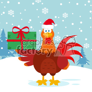 Cute Red Rooster Bird Cartoon With Santa Hat Holding Gifts Vector Flat Design With Snow Background