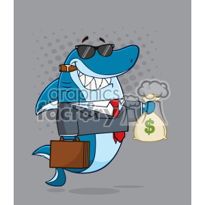 Smiling Business Shark Cartoon In Suit Carrying A Briefcase And Holding A Money Bag Vector With Gray Halftone Background