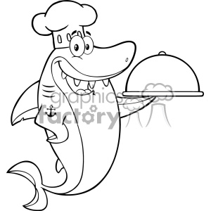 Clipart Black And White Chef Blue Shark Cartoon Holding A Platter Vector