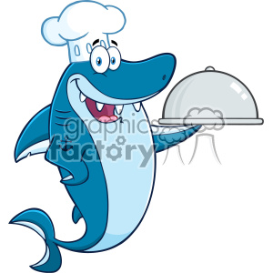 Clipart Chef Blue Shark Cartoon Holding A Platter Vector clipart. Commercial use icon # 402871