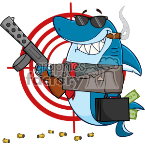 Smiling Shark Gangster Cartoon Carrying A Briefcase Holding Holding A Submachine Gun In Front Of A Target Vector Illustration clipart. Royalty-free image # 402883