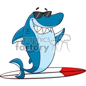 Clipart Smiling Blue Shark Cartoon With Sunglasses Surfing And Waving Vector With Background