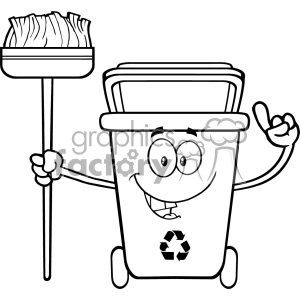 Talking Black And White Recycle Bin Cartoon Mascot Character Pointing To A Open Lid Vector