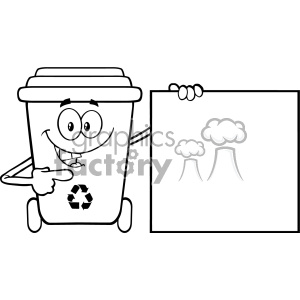 Talking Black And White Recycle Bin Cartoon Mascot Character Pointing To A Blank Sign Banner Vector clipart. Royalty-free image # 402905