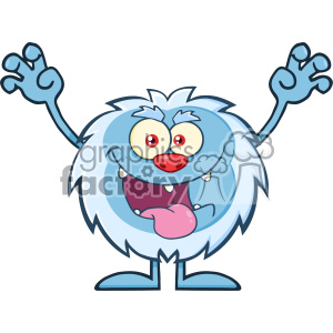 Scary Yeti Cartoon Mascot Character With Open Arms And Mouth Vector
