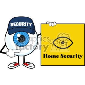 Blue Eyeball Cartoon Mascot Character Security Guard Pointing A Home Security Sign Banner Vector clipart. Royalty-free image # 402915