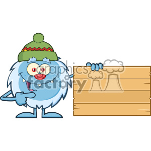 Cute Little Yeti Cartoon Mascot Character With Hat Pointing To A Wooden Blank Sign Vector clipart. Commercial use image # 402920