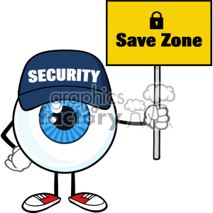 Blue Eyeball Cartoon Mascot Character Security Guard Holding Up A Save Zone Sign Vector clipart. Commercial use image # 402930