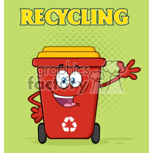Happy Red Recycle Bin Cartoon Mascot Character Waving For Greeting Vector With Green Halftone Background And Text Recycling clipart. Royalty-free image # 402940