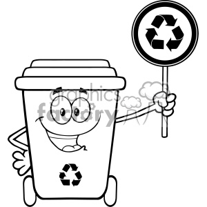 Black And White Cute Recycle Bin Cartoon Mascot Character Holding A Recycle Sign Vector clipart. Royalty-free image # 402950