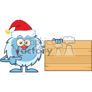 Happy Little Yeti Cartoon Mascot Character With Santa Hat Pointing To A Wooden Blank Sign Vector