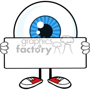 Blue Eyeball Guy Cartoon Mascot Character Holding A Blank Sign Vector clipart. Royalty-free image # 402965