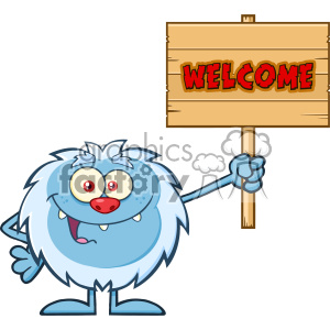 Smiling Little Yeti Cartoon Mascot Character Holding Up A Welcome Wooden Sign Vector