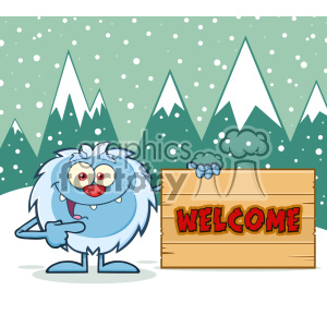 Cute Little Yeti Cartoon Mascot Character Pointing To A Welcome Wooden Sign Vector With Winter Background