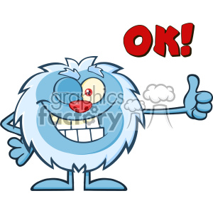 Cute Little Yeti Cartoon Mascot Character Winking And Holding A Thumb Up Vector With Text OK! clipart. Royalty-free image # 402985