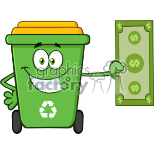 Smiling Green Recycle Bin Cartoon Mascot Character Holding A Dollar Bill Vector clipart. Royalty-free image # 402990