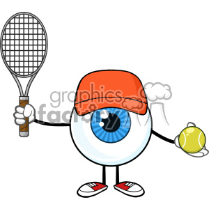Blue Eyeball Guy Cartoon Mascot Character Holding A Tennis Ball And Racket Vector clipart. Commercial use image # 402995
