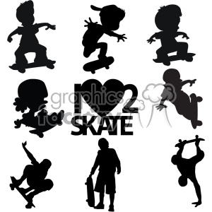 skateboarder svg cut file bundle clipart. Royalty-free image # 403049