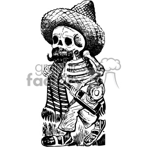 drunk skeleton vector art day of the dead Jose Guadalupe Posada clipart. Royalty-free image # 403129