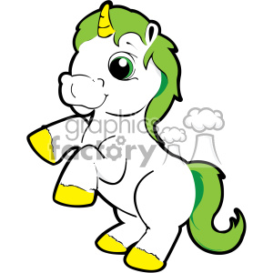 cartoon unicorn with green hair vector clip art clipart. Commercial use image # 403169