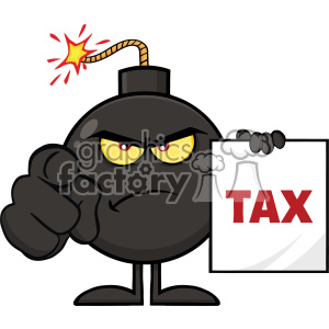 10808 Royalty Free RF Clipart Angry Bomb Cartoon Mascot Character Pointing And Holding A Tax Sign Form Vector Illustration clipart. Royalty-free image # 403612