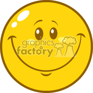 10838 Royalty Free RF Clipart Yellow Smiley Face Cartoon Character Vector Illustration