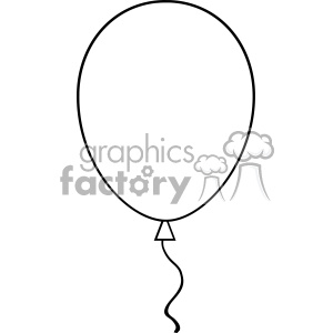 10734 Royalty Free RF Clipart Black And White Line Art Balloon Vector Illustration