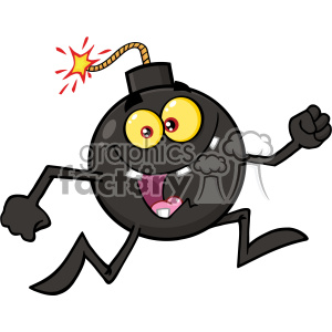 Royalty Free RF Clipart Crazy Bomb Cartoon Mascot Character Running Vector Illustration clipart. Royalty-free image # 403632