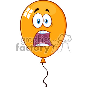 10755 Royalty Free RF Clipart Scared Orange Balloon Cartoon Mascot Character Vector Illustration
