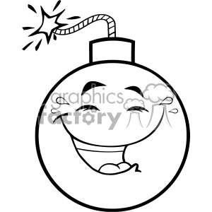 10831 Royalty Free RF Clipart Black And White Happy Bomb Face Cartoon Mascot Character With Smiling Expressions Vector Illustration