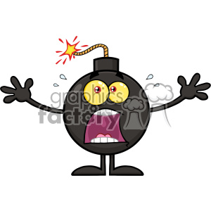 10785 Royalty Free RF Clipart Funny Bomb Cartoon Mascot Character With A Panic Expression Vector Illustration