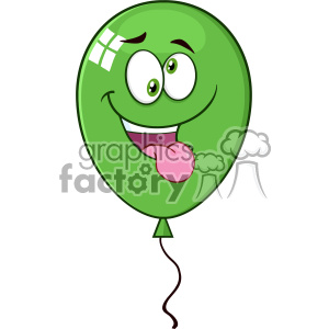 10740 Royalty Free RF Clipart Crazy Green Balloon Cartoon Mascot Character Vector Illustration clipart. Commercial use image # 403677