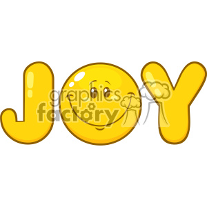 10845 Royalty Free RF Clipart Joy Yellow Logo With Smiley Face Cartoon Character Vector Illustration