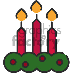 christmas candles vector icon