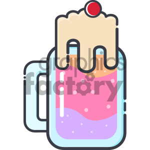 cartoon art drink beverage milkshake glass ice+cream