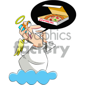cartoon angels angel hungry dreaming pizza mascot character religion