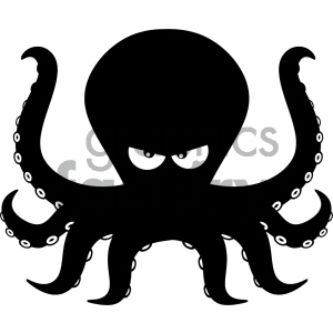 Royalty Free RF Clipart Illustration Angry Black Silhouettes Of Octopus Cartoon Mascot Character Vector Illustration Isolated On White Background clipart. Royalty-free icon # 404207
