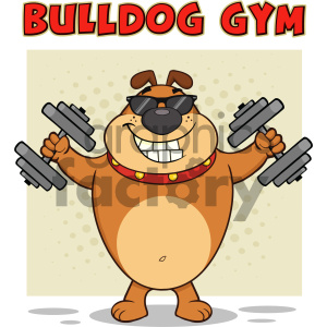 cartoon animals vector dog dogs fitness exercise dumbbell holding cool gym bulldog