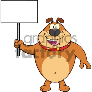 Royalty Free RF Clipart Illustration Happy Brown Bulldog Cartoon Mascot Character Holding A Blank Sign Vector Illustration Isolated On White Background clipart. Commercial use image # 404238