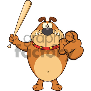 Royalty Free RF Clipart Illustration Angry Brown Bulldog Cartoon Mascot Character Holding A Bat And Pointing Vector Illustration clipart. Commercial use image # 404247
