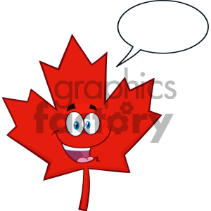 Royalty Free RF Clipart Illustration Happy Canadian Red Maple Leaf Cartoon Mascot Character Vector Illustration Isolated On White Background With Speech Bubble clipart. Royalty-free image # 404264