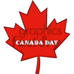 Royalty Free RF Clipart Illustration Canadian Red Maple Leaf Line Cartoon Drawing Vector Illustration Isolated On White Background With Text Canada Day clipart. Royalty-free image # 404271
