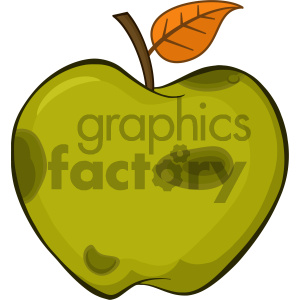 Royalty Free RF Clipart Illustration Rotten Green Apple Fruit With Leaf Cartoon Drawing Simple Design Vector Illustration Isolated On White Background clipart. Royalty-free icon # 404278