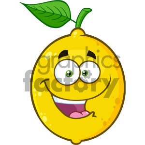 Royalty Free RF Clipart Illustration Smiling Yellow Lemon Fruit Cartoon Emoji Face Character With Expression Vector Illustration Isolated On White Background clipart. Commercial use image # 404283