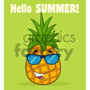 Smiling Pineapple Fruit With Green Leafs And Sunglasses Cartoon Mascot Character Design Vector Illustration With Halftone Background And Text Hello Summer clipart. Commercial use image # 404284