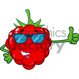 Royalty Free RF Clipart Illustration Red Raspberry Fruit Cartoon Mascot Character With Sunglasses Giving A Thumb Up Vector Illustration Isolated On White Background clipart. Royalty-free image # 404301