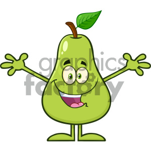 cartoon food mascot character vector happy pear