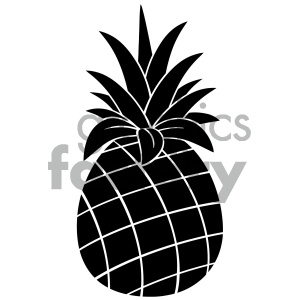 Royalty Free RF Clipart Illustration Pineapple Fruit Black And White Silhouette Simple Design Vector Illustration Isolated On White Background clipart. Royalty-free image # 404324